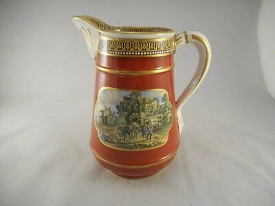 Victorian Antique c1870 Prattware Jug with Lovely Scenes on the Sides