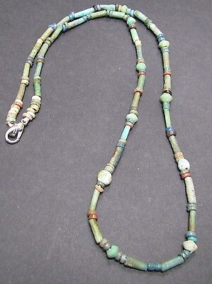 NILE  Ancient Egyptian Glass Bead Amulet Mummy Bead Necklace ca 600 BC