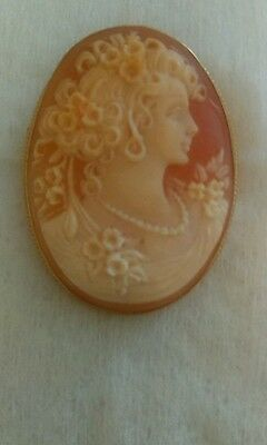 Vintage Fabulous Contemporary 9ct Gold Mounted Cameo Brooch 7 grams