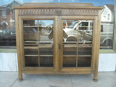 Antique 1920's Glazed Oak Bookcase With Adjustable Shelving , Shelves