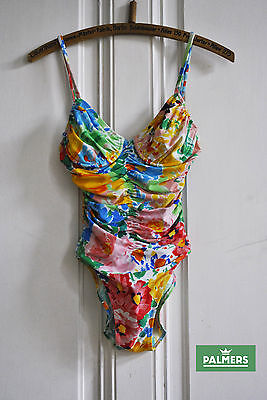 AWESOME Vintage Swimsuit PALMERS 90's High Cut 36 Designers Swimming Costumes