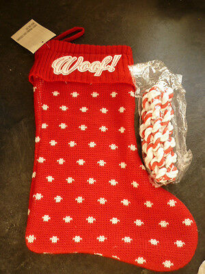 Xmas Dog Stocking - Knitted - With Toy - Woof On Top - New With Tags