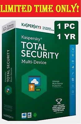 Kaspersky TOTAL Security (Latest) 2017 Antivirus Multi- 1 PC Device -1 Year Pure