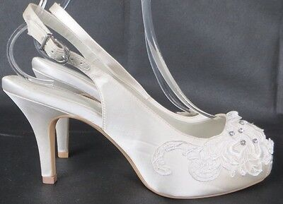*BNWT* BHS Wedding Collection Ivory Satin Shoes Peeptoe Bridal 5 7 8