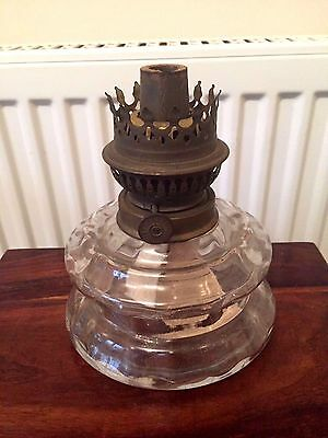 Vintage glass oil lamp with cosmos burner working order or for spares no chimney