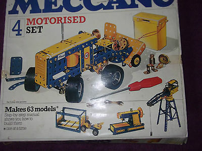 Meccano  1970's Motorised construction set 4 with instructions parts missing