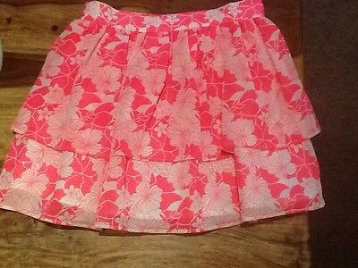 Beautiful Pink Floral Ra Ra Skirt Age 10-11 Years