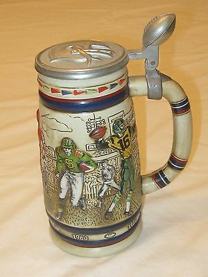 """Avon Vintage Collectible 1983 """"Football Through the Decades"""" Stein with Lid"""