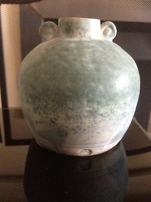 """Conwy Pottery Wales Celtic Heritage Collection Vase / pot mottled green tag 4"""""""