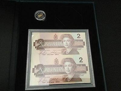 1996 Canada $2 Two Dollar Piedfort and Banknote Set ~ Gold Plated Toonie Core