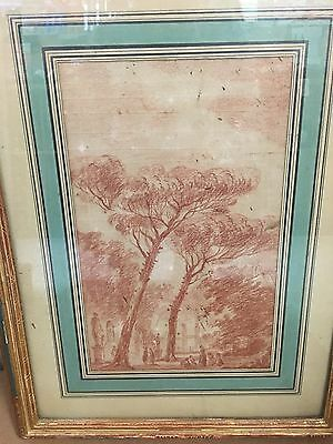 drawing by Hubert Robert, 18th century French!  Red Chalk on Paper