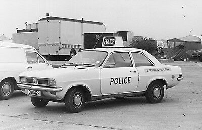 Black & White Photo of an old Vauxhall Viva Police Car - OMB 42P