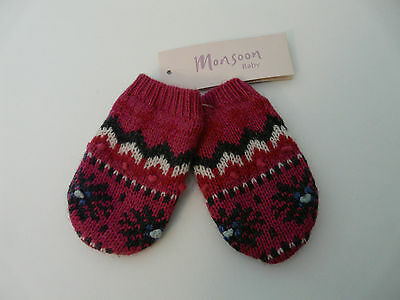 Monsoon Baby Girl Pink Fair Isle Wool Angora Mittens Size 0-12 Months 1-3 Years