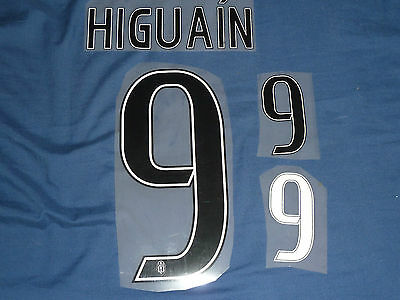 HIGUAIN 9 Home 2016/17 Name and Number Set For Juventus Shirt / Jersey Iron On
