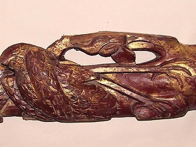 """Antique Chinese Wood Carving Architectural Panel Gilt Magpie Torso & Branch 22"""""""