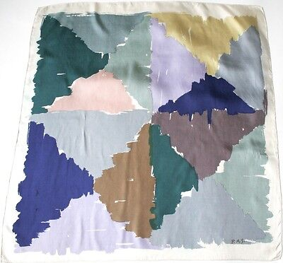 P.A.S. vintage silk scarf - Abstract Print - Muted Multi Colours -  Large