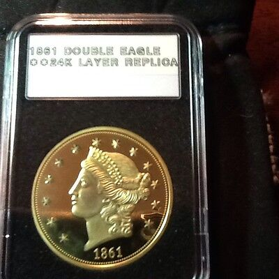 1861 Liberty Double Eagle Proof 24Kt Gold Layered Commemorative Collectible