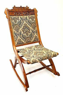 Antique Eastlake Carved Chair Victorian Rocker Sewing Walnut? Folding Ornate Wow