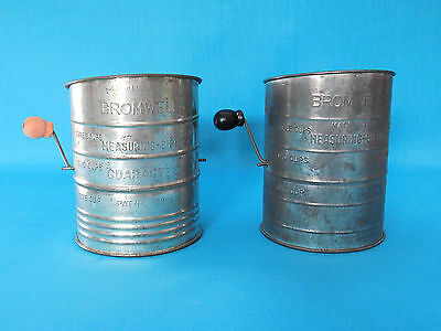 Vintage Metal Bromwells 3 Cup Flour Measuring Sifter Black Wood Handle Free Ship