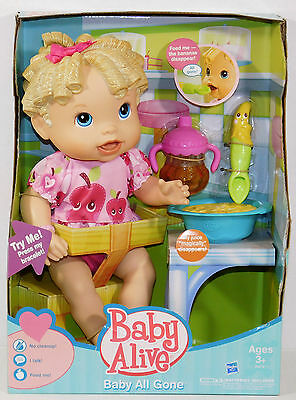 2011 New Baby All Gone BABY ALIVE Blonde Banana Sippy cup Doll Retired