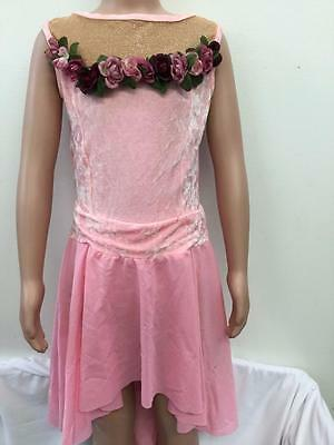 Dance Costume Large Child Pink Dress Lyrical Solo Competition Pageant Glitz