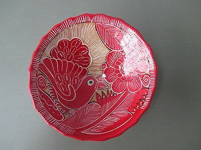 Picasso By Bernardo Cabo San Lucas Hand Made Bright Red Footed Pottery Bowl Bird