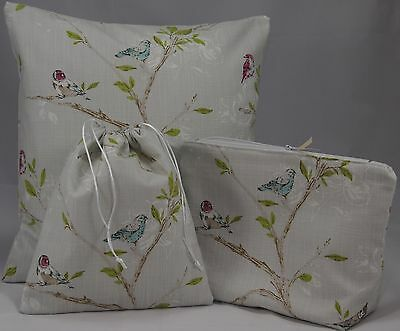 "John Lewis Volary Fabric.16"" 40cm Cushion or Cover. Wash Bag Toiletry Bag Birds"