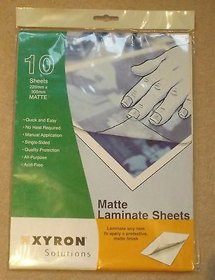 Xyron Matte Laminate Sheets, 9 x 12 Inches, 229 mm x 395 mm 10-Pack