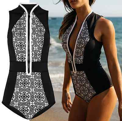 Vintage Women One-Piece Swimsuit Bathing Monokini Push Up Padded Bikini Swimwear