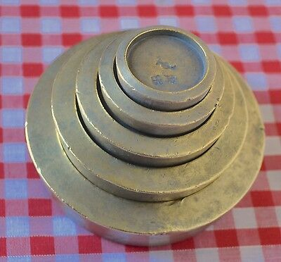 RARE SET 5 MATCHING SOLID BRASS STACKING WEIGHTS SAME MARKINGS ON EACH 1lb/1oz
