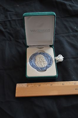 Wedgwood Blue Jasperware  Christmas Santa Cameo Ornament In Original Box