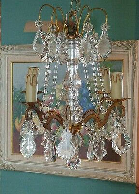 Vintage~1920's Petite French Bronze Crystal Chandelier~Macaroni Beads 4Lt Gilt