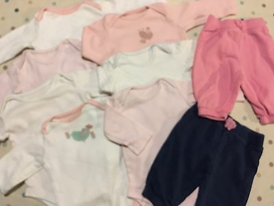 0-3 Month Baby Girl Bundle, Long Sleeved Bodysuit & Trousers. 11 Items!