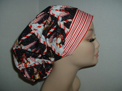 Christmas Peppermint Penguins Bouffant Scrub Hat CNOR CRNA Chef CORT Red Black