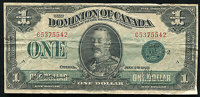 DC-25j 1923 $1 ONE DOLLAR DOMINION OF CANADA BANKNOTE GREEN SEAL VERY FINE