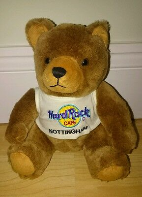 "HARD ROCK CAFE NOTTINGHAM Traditional 9"" Tall Teddy Bear - Cafe Closed - HTF"