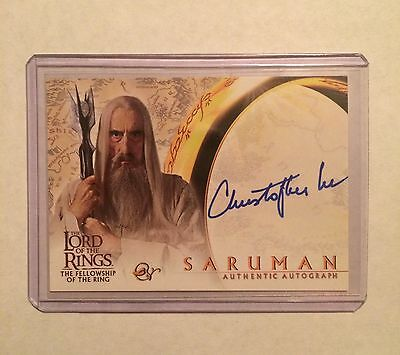 CHRISTOPHER LEE Auto - Lord of the Rings FOTR - Autograph Card - signed