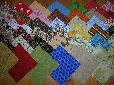 "50 X 4"" Multi Coloured (All Different) 100% Cotton   Quilting & Patchwork Gbz"