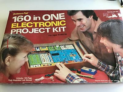 Vintage SCIENCE FAIR 160 In One Electronic Project Kit  Wooden Box Package