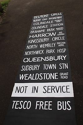 LONDON BUS DESTINATION BLIND vintage WEALDSTONE HARROW NORTH WEMBLEY