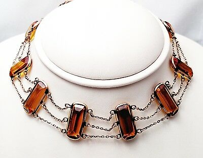 Victorian Amber Colored Glass Choker Necklace with Rose Colored Chain / 14 inch