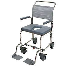 Oyster folding mobile portable transit shower chair/commode