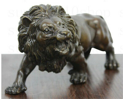 Sculpture&Carving Bronze coffee Fierce Lions Wild Animals Figure Statue gift