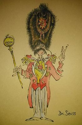 Rare Dr. Seuss Drawing Ink & Watercolor On Paper Signed Lower Right