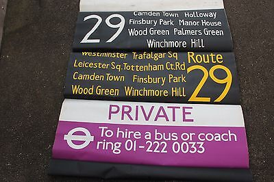 LONDON BUS DESTINATION BLIND vintage