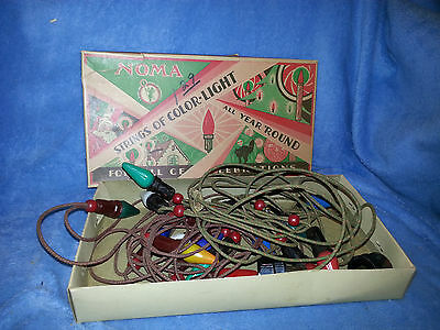 Vintage NOMA Christmas Lights Set Mazda  Light Bulbs String C 6 Box Working