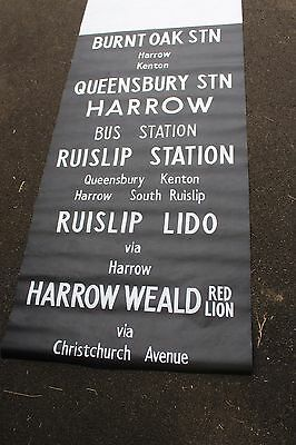 LONDON BUS DESTINATION BLIND vintage HARROW RUISLIP