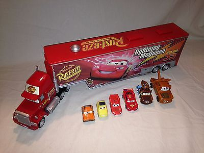 * Disney Cars Mack Semi Truck Car Carrier plus 6 cars, Mater, McQueen *