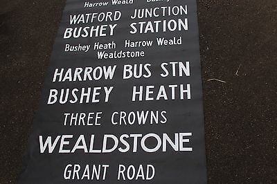 LONDON BUS DESTINATION BLIND vintage WATFORD JUNCTION  WEALDSTONE