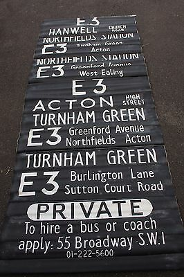LONDON BUS DESTINATION BLIND vintage ACTON TURNHAM GREEN